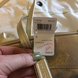 Coach Bags - Coach Laura Gold Leather Tote NWT Metallic